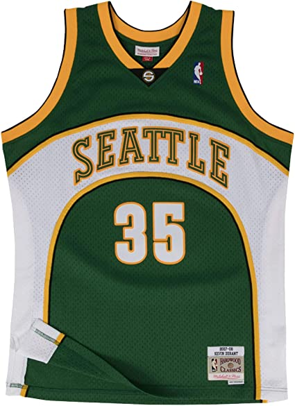 Mitchell /& Ness Kevin Durant Seattle Supersonics Pullover Sweater Black//Green//Yellow 8644H