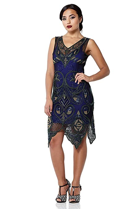 1920s Style Dresses, Flapper Dresses Emma Vintage Inspired Flapper Dress in Navy Blue £99.00 AT vintagedancer.com