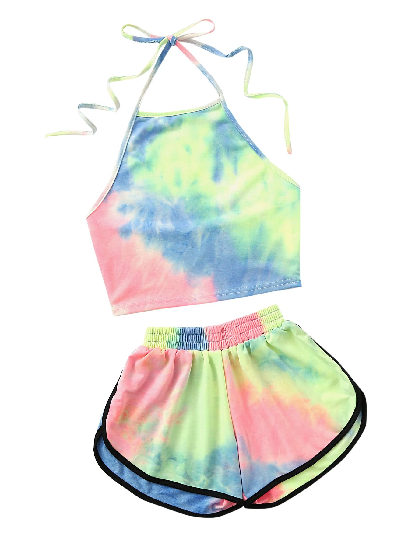 SweatyRocks Women's 2 Piece Set Halter Crop Top and Shorts Set Tie Dye S