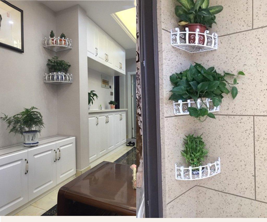 CSQ Wrought Iron Corner Flower Stand, Classic Pattern Potted Plants Chlorophytum, Bedroom/Living Room/Study, Black & White 2812CM Flower Shelf