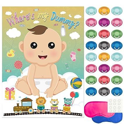 FEPITO Baby Shower Partido Juegos, Alfiler la Tonto en el Juego del Bebé con 24 piezas de Pegatinas Chupete para Artículos de Fiesta para Bebé Ducha
