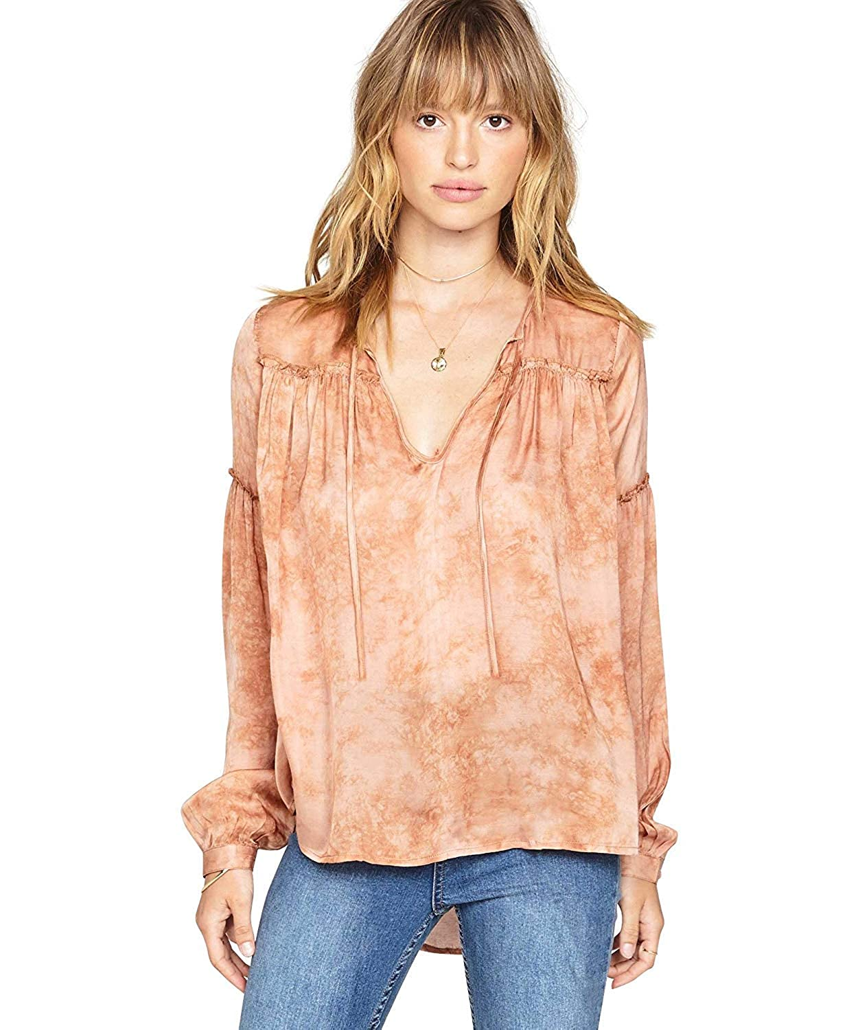 Amuse Society Womens Washed Woven Shirt Rose