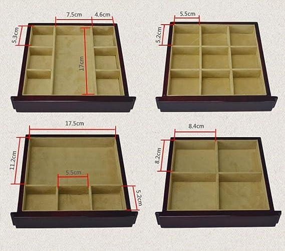 MEYLEE Madera sólida hecha a mano retro 5 capas caja de joyería Caja de almacenamiento con cerradura y espejo de llave forrado RJ606 , red wine: Amazon.es: ...
