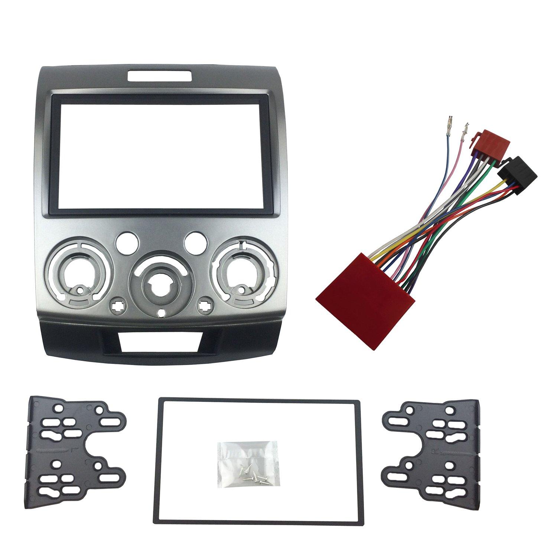 MAXIOU Fascia for Everest Ranger BT-50 BT50 Double Din Stereo Facia Adaptor with ISO Wiring Cable MAXIOU Auto