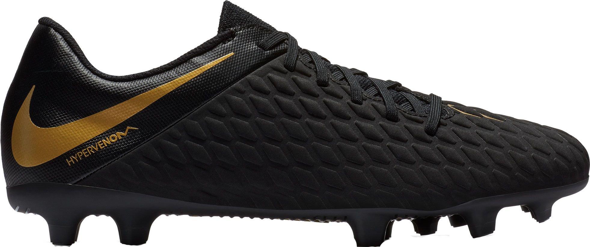 NIKE Phantom 3 Club FG Soccer Cleats (7.5, Black/Gold)