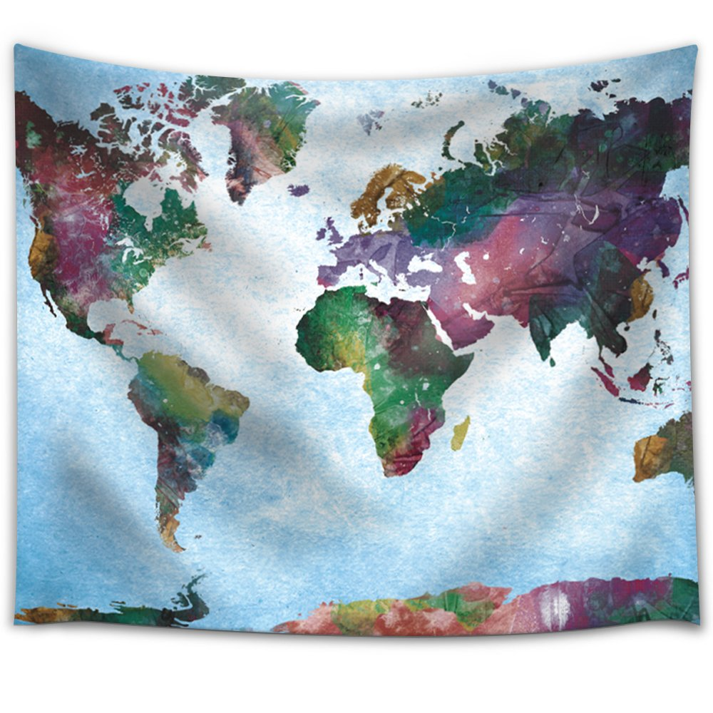 World Map Rug Ebay: Watercolor World Map On A Blue Vignette Background