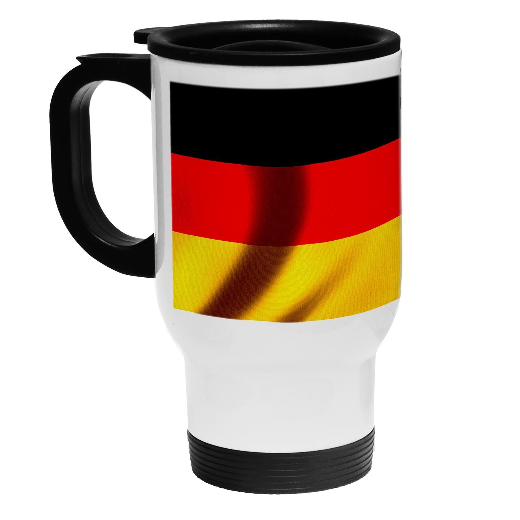 White Stainless Steel Coffee / Travel Mug - Flag of Germany (German) - Wood