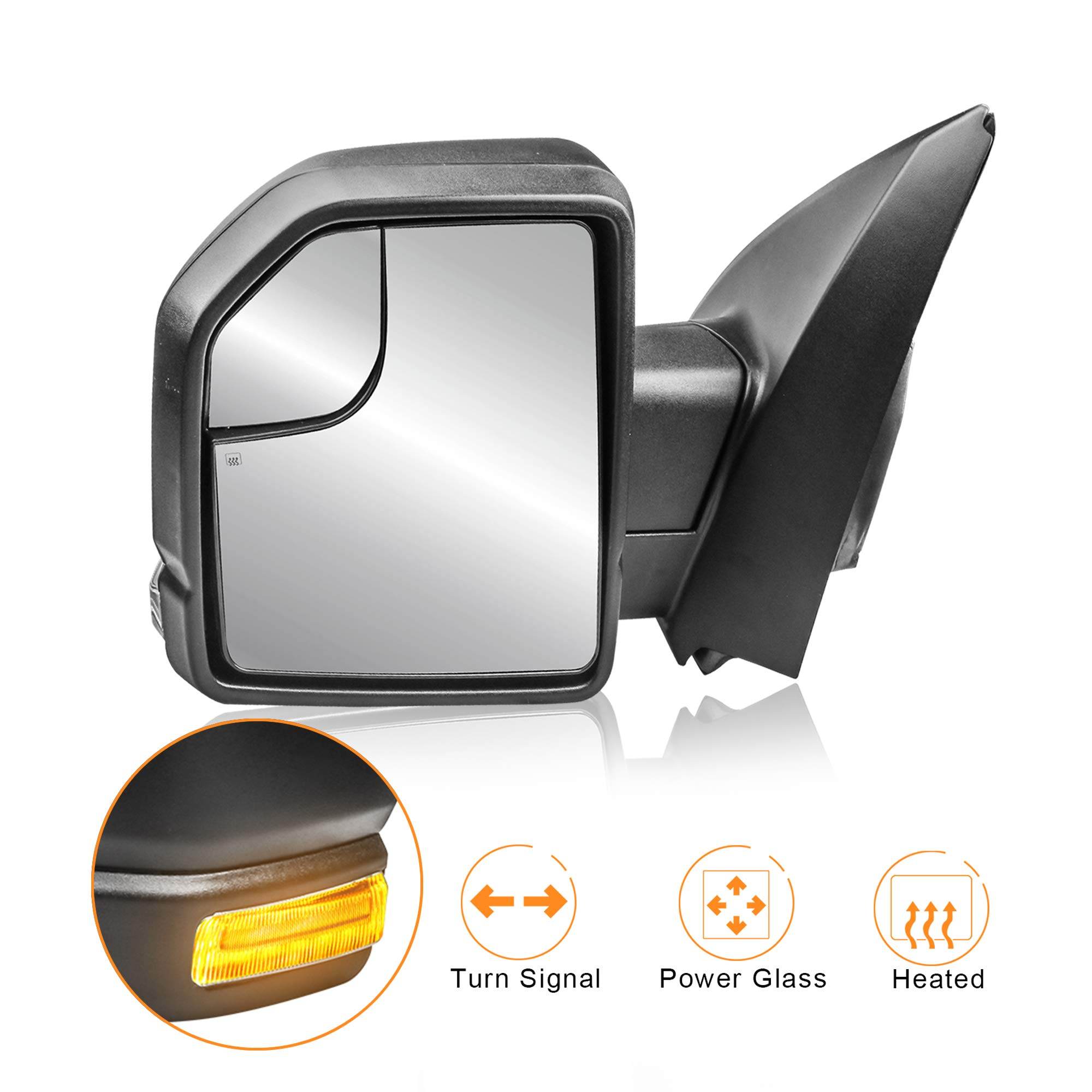 MOSTPLUS Left LH Driver side Power Heated Towing Mirrors for Ford F150 2015 2016 2017 w/Turn Signal 8-Pin Plug (Left Side Mirror) by MOSTPLUS
