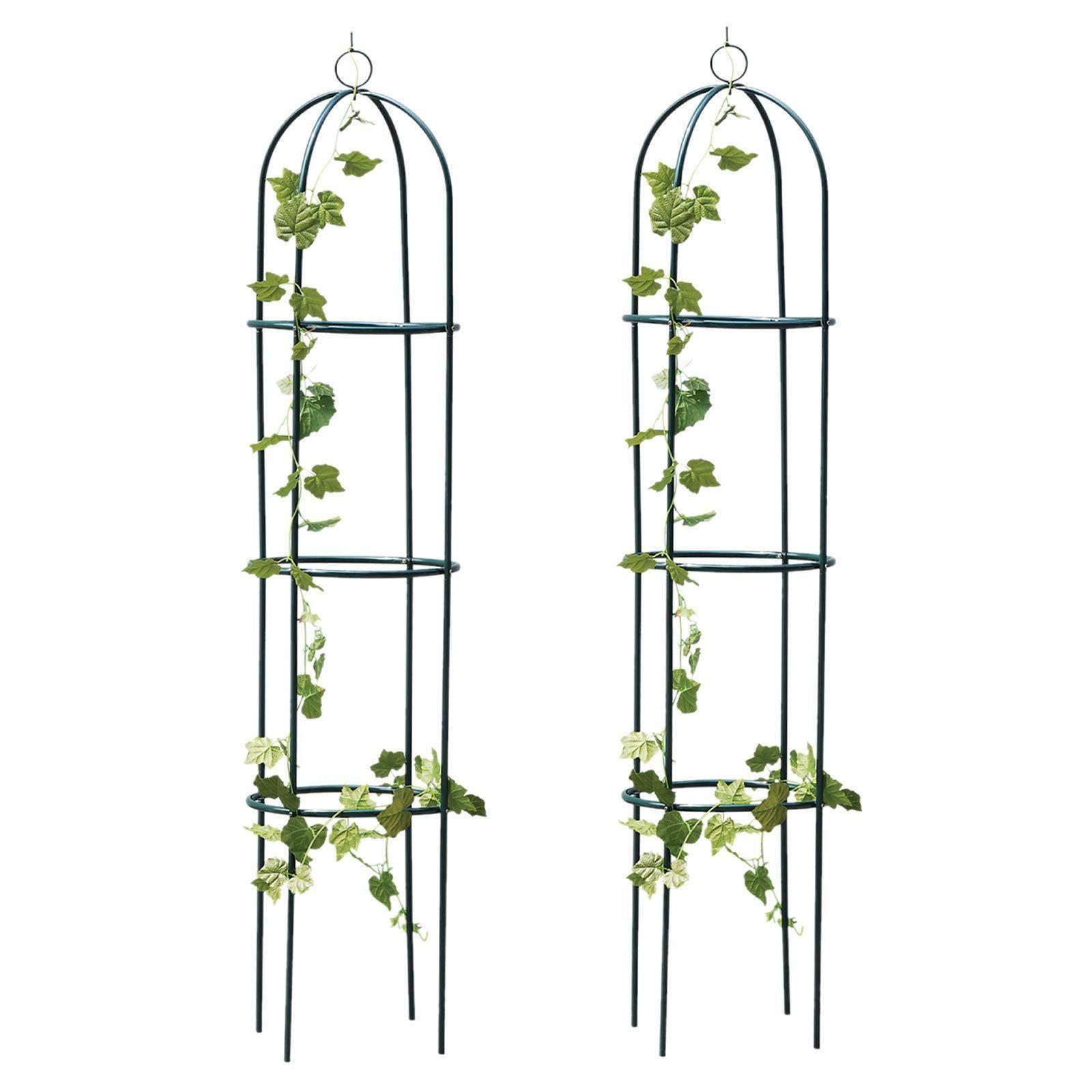 Faboer 2 x 1.9 m Metal Garden Outdoor Obelisk Climbing Plant Support Frame Trellis