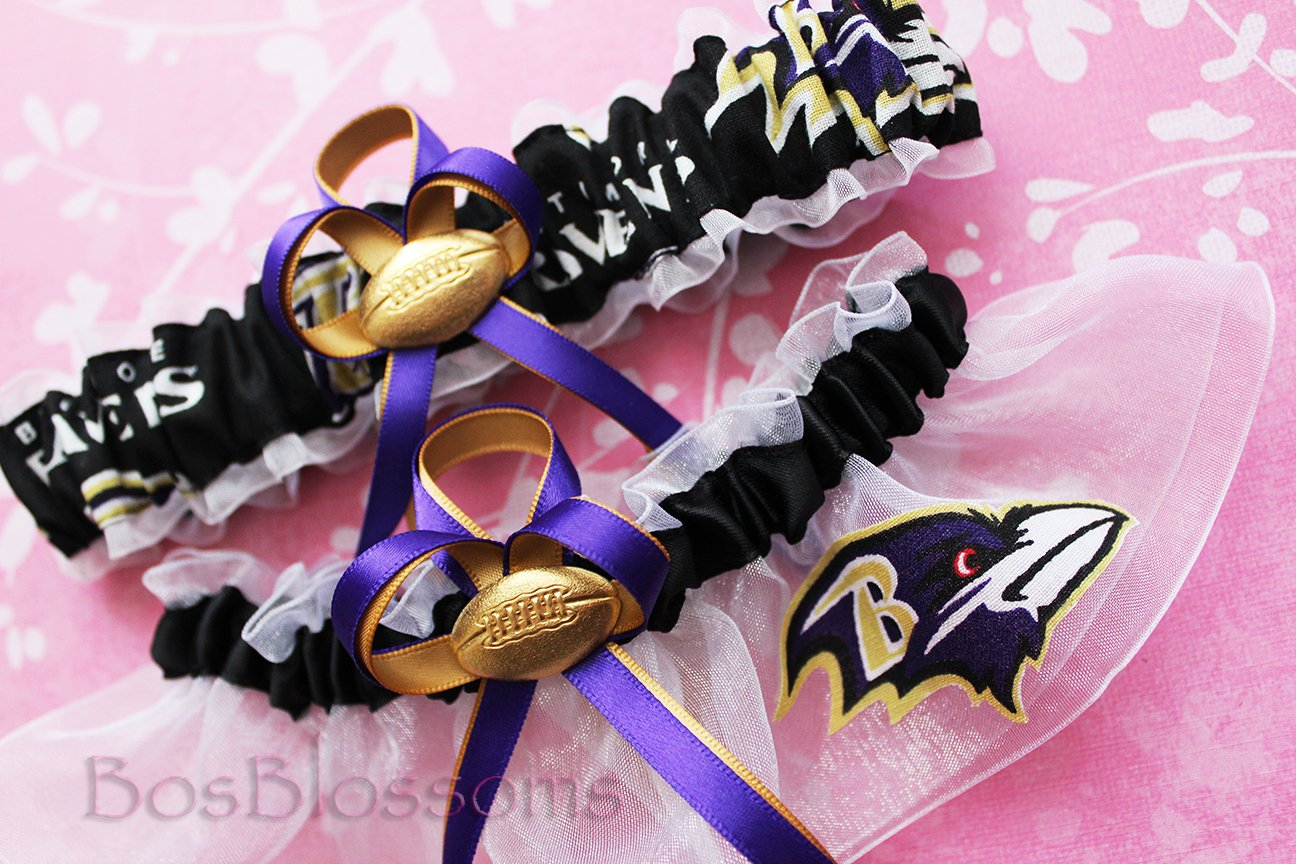 Customizable - Baltimore Ravens fabric handmade into bridal prom white organza wedding garter set with football charm