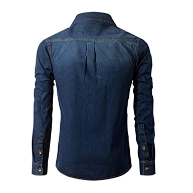 Beautface Makeup Fashion Social Dark Blue Casual Cotton Shirt Long Sleeve Camisa Jeans Camisas Para Hombre