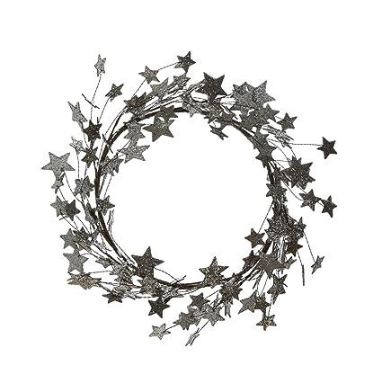 Silver Christmas Wreath.Amazon Com 18 Inch Silver Glitter Star Christmas Wreath