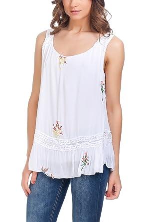 Laura Moretti - Blusa con simple estampado floral y detalles bordados: Amazon.es: Ropa y accesorios