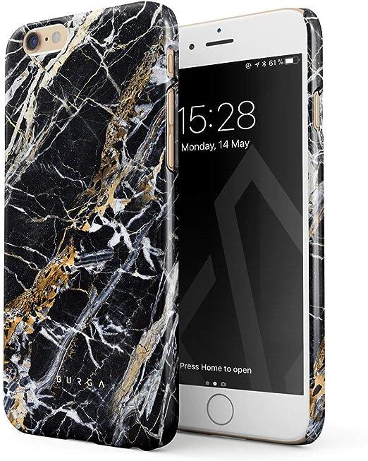 BURGA Coque en plastique rigide pour iPhone 6/6s Motif onyx noir et doré, iPhone 6 / 6s