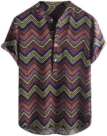 Ropa de Hombre Vintage étnico Estampado Cuello Redondo Corto Estampado Moda Cuello Alto Manga Corta Camisa Suelta Blusa
