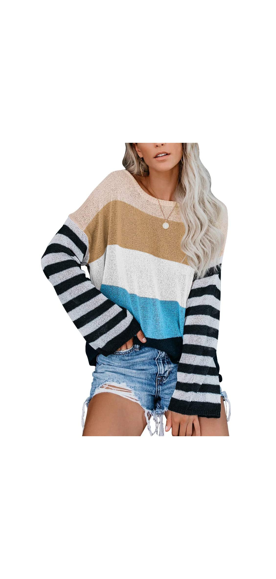 Womens Oversized Pullover Sweater Colorblock Rainbow