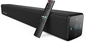 100Watt 32 Inch Soundbar, Bestisan 2.1 Channel Bluetooth 5.0 Sound Bar with Built-in Dual Subwoofer TV Speakers (2020 New Version, 60 Days Home Trial)