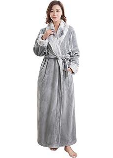 ZAKASA para Mujer para Mujer de Lujo cálido Suave Polar vellón Bata Bata de baño Bata de casa de…