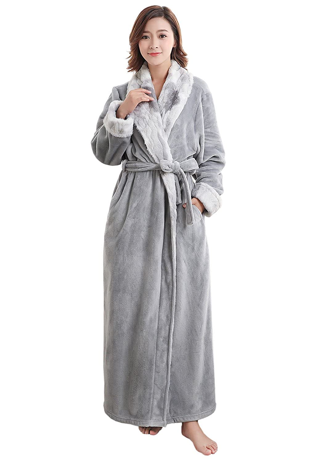 a376765f58 Ladies Bathrobe Soft Plush Warm Flannel Spa Long Bath Robe for Women  Sleepwear Winter