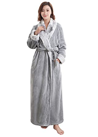 Long Fleece Dressing Gowns for Womens Ladies Luxury Plush Bath Robe ...