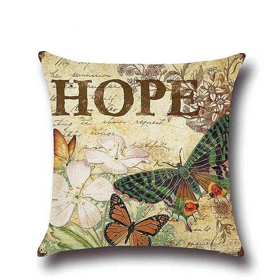 Amazon.com: 1 Pcs Butterfly Pattern Cotton Linen Throw ...