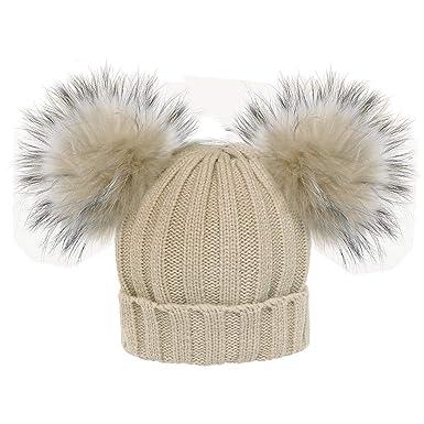 9c160bb5f635 mioim Unisexe Chapeau De Bain D hiver Bonnet Tricoté Chapeau Faux Raton  Laveur Double Fourrure