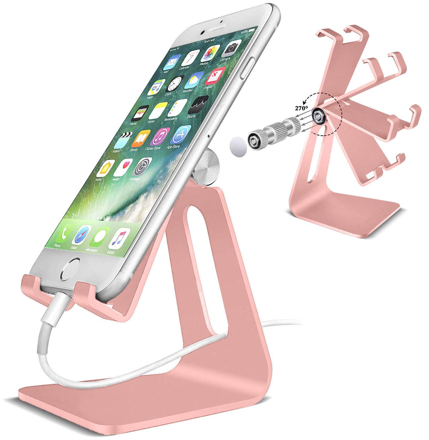 POKANIC Cell Phone Stand Dock Holder Cradle Mount Organizer Charger StationTable, Desktop Bed Office School Kitchen Travel Foldable Portable Adjustable, Multi-Angle Aluminum Non-Slip, Kids (Rose Gold)