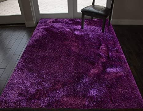 Shaggy Shag Contemporary Soft Cozy Solid Shag Deep Purple Dark Purple Color Area Rug Carpet Rug 5 Feet X 7 Feet Indoor Bedroom Living Room Decorative Designer Cozy Modern Decretive Designer