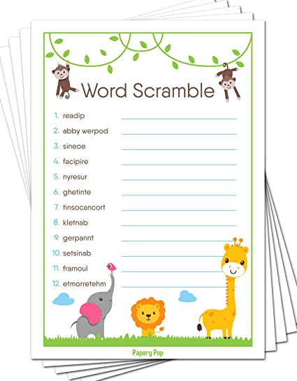 Amazon Com Baby Word Scramble Game Cards Pack Of 50 Baby Shower