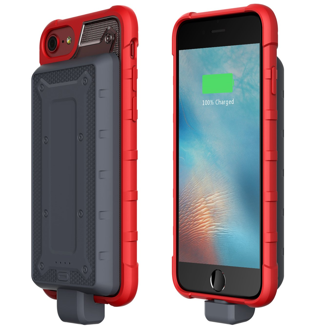 Greatfine iPhone 8/7 /6 /6s Charging Case, 4800mAh Portable Battery Bank + Protective Case Unique Disassembled Design Extended Battery Case (Red)