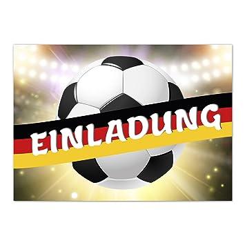 15 X Einladungskarten Fussball Mit Fahne Deutschland Im Postkarten