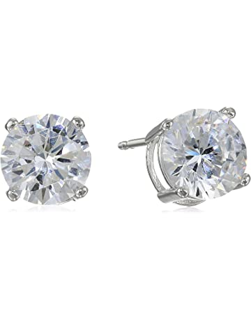 c64dfa4df Amazon Essentials Plated Sterling Silver Cubic Zirconia Stud Earrings  (Round & Princess)