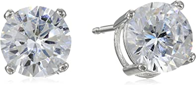 Plated Sterling Silver Cubic Zirconia Stud Earrings