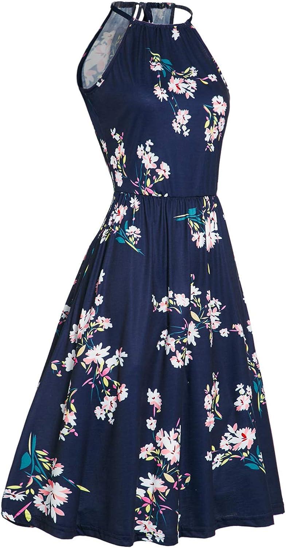 KILIG Womens Halter Neck Floral Summer Dress Casual Sundress with Pockets