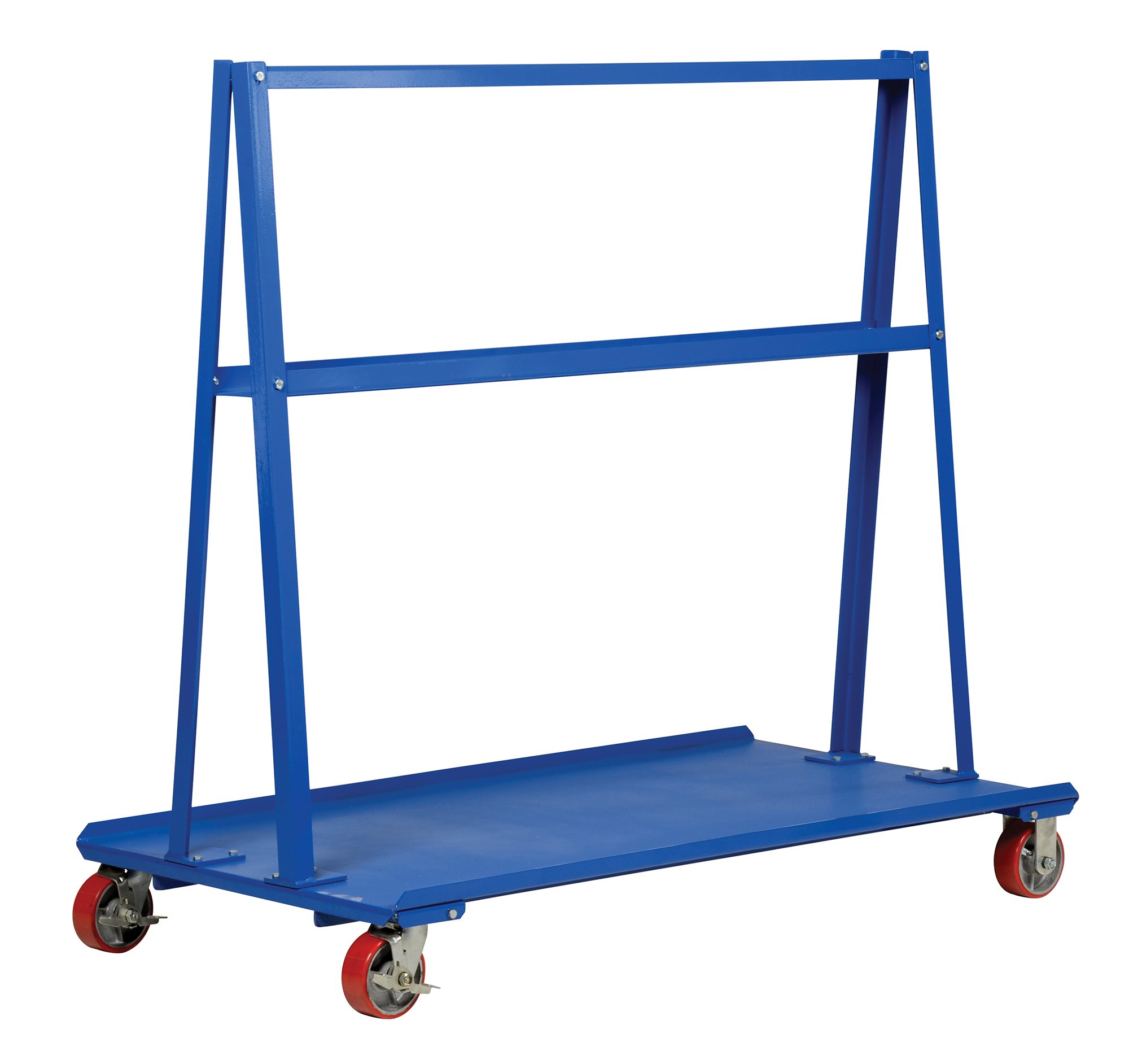 Vestil AF-3060 Frame Cart 2000 lb. Capacity, 30'' Width x 60'' Length x 56'' Height, 5'' x 2'' Poly On Steel Casters, Steel, Powdercoat Blue