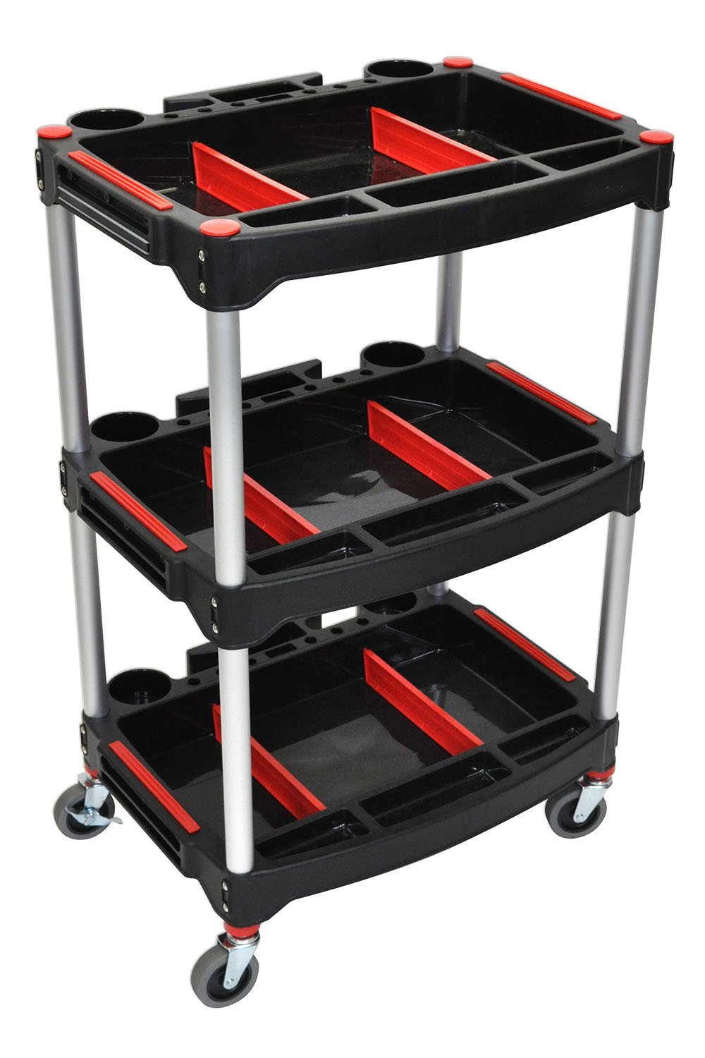 Offex Rolling 3 Shelf Mechanics Tool Storage Utility Cart 3'' Casters - Red/Black