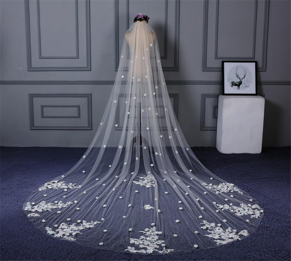 3pcs ALLU Wedding Veil Woman Long Hair Veil Bridal Wedding Accessary Wholesale Handmade Lace Flowers
