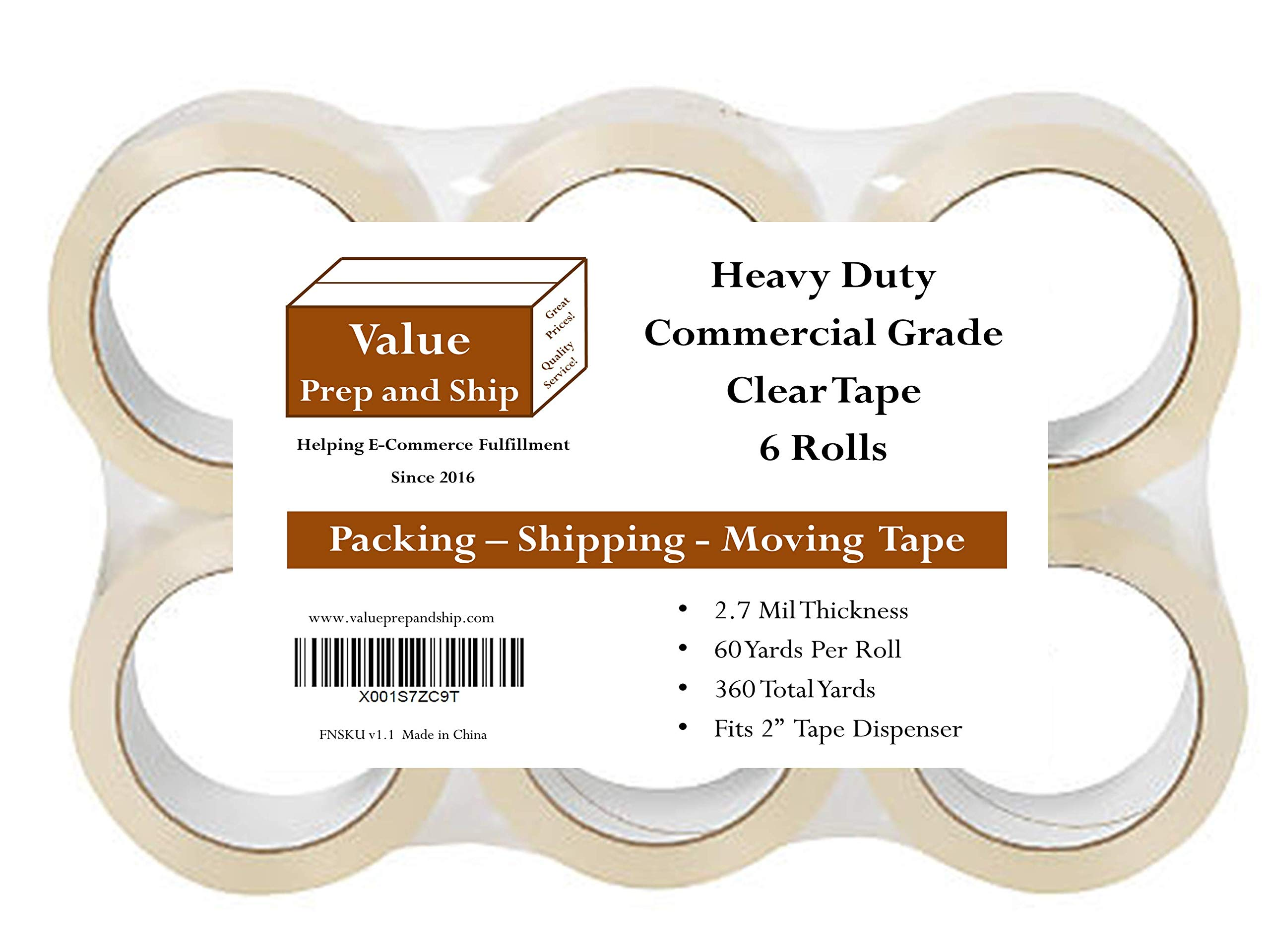 Clear Packing Tape, Heavy Duty Commercial Grade 2.7 Mil Thickness, 60 Yards per Rolls (6-Pack)