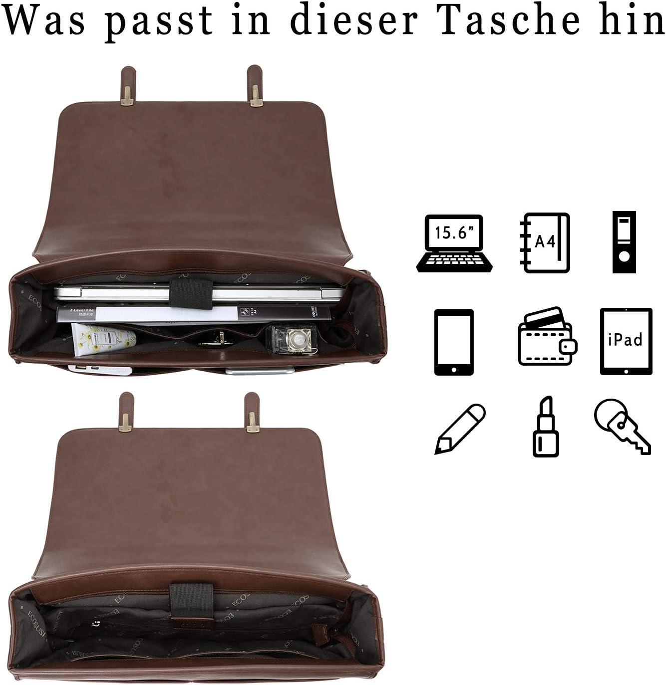 ECOSUSI Aktentasche Damen Laptoptasche 15,6 Zoll Vintage Umh/ängetasche mit Abnehmbarer Schleife Schultasche Kaffee