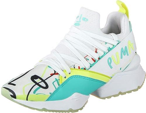 Puma Muse Maia SM W Calzado White/Sunny Lime: Amazon.es: Zapatos y complementos