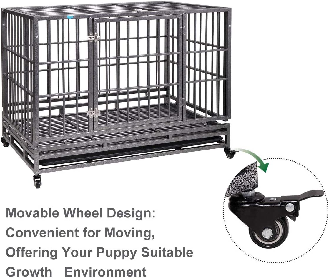 """JAXPETY 42/"""" Flat Roof Heavy Duty Dog Cage Strong Metal Kennel and Crate for Dogs Pet Playpen with Four Wheels and Double Door Indoor Outdoor"""