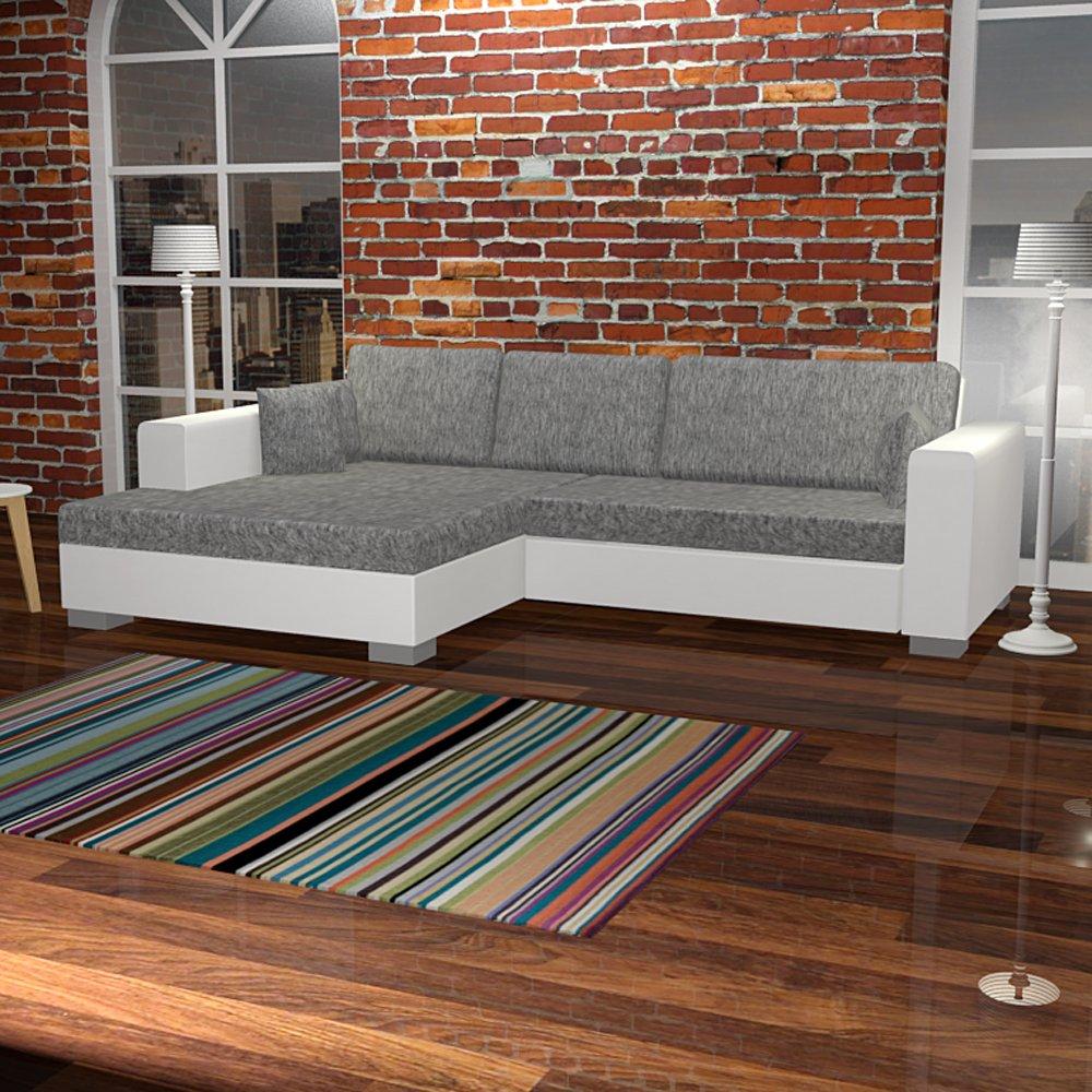 lounge-zone Ecksofa CHILL Schlaffunktion und Bettkasten grau weiss 268x163cm Fußteil links 7301