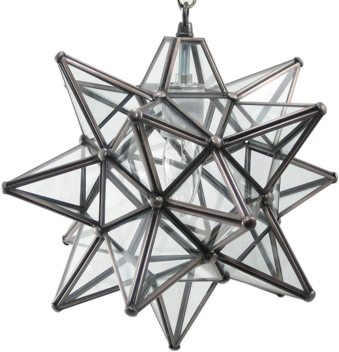 DuDa Home Decor Moravian Star Pendant Light, Clear Glass, Bronze Frame, 12