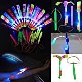 Habelyi 25PCS Amazing Led Light Arrow Rocket Helicopter Flying Toy Party Fun Gift Elastic Slingshot Flying Copters Summer Outdoor Game for Kids