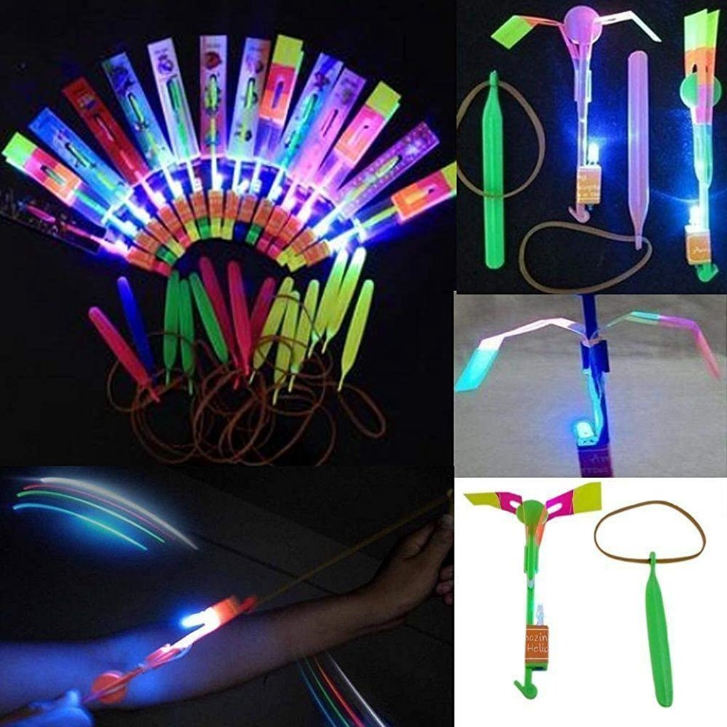 Happyi 50pcs Amazing Led Light Arrow Rocket Helicopter Flying Toy Party Fun Gift Elastic