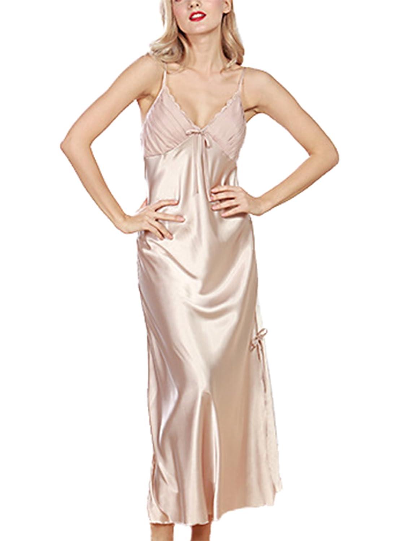 Asskyus Womens Lingerie Ladies Satin Pajamas Lace Nightwear Long Nightdress