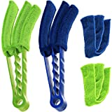 Microfiber Blind Duster SENHAI Set of 2 Cleaner Brush for Window Shutters Vent Air Conditioner Dust Collector Cleaning Cloth Tool With 2 Extra Microfiber Sleeves