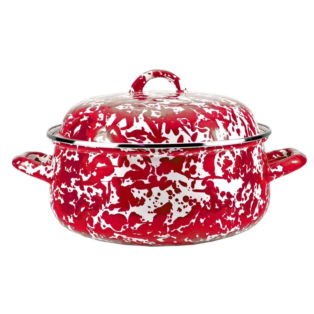 Enamelware -Red Swirl Pattern - 4 Quart Dutch Oven