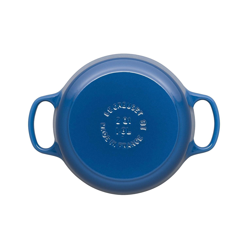 LE CREUSET Evolution Cocotte con Tapa, Redonda, Todas Las Fuentes de Calor Incl. inducción, 1,8 l, Hierro Fundido, Azul Marseille, 18 cm