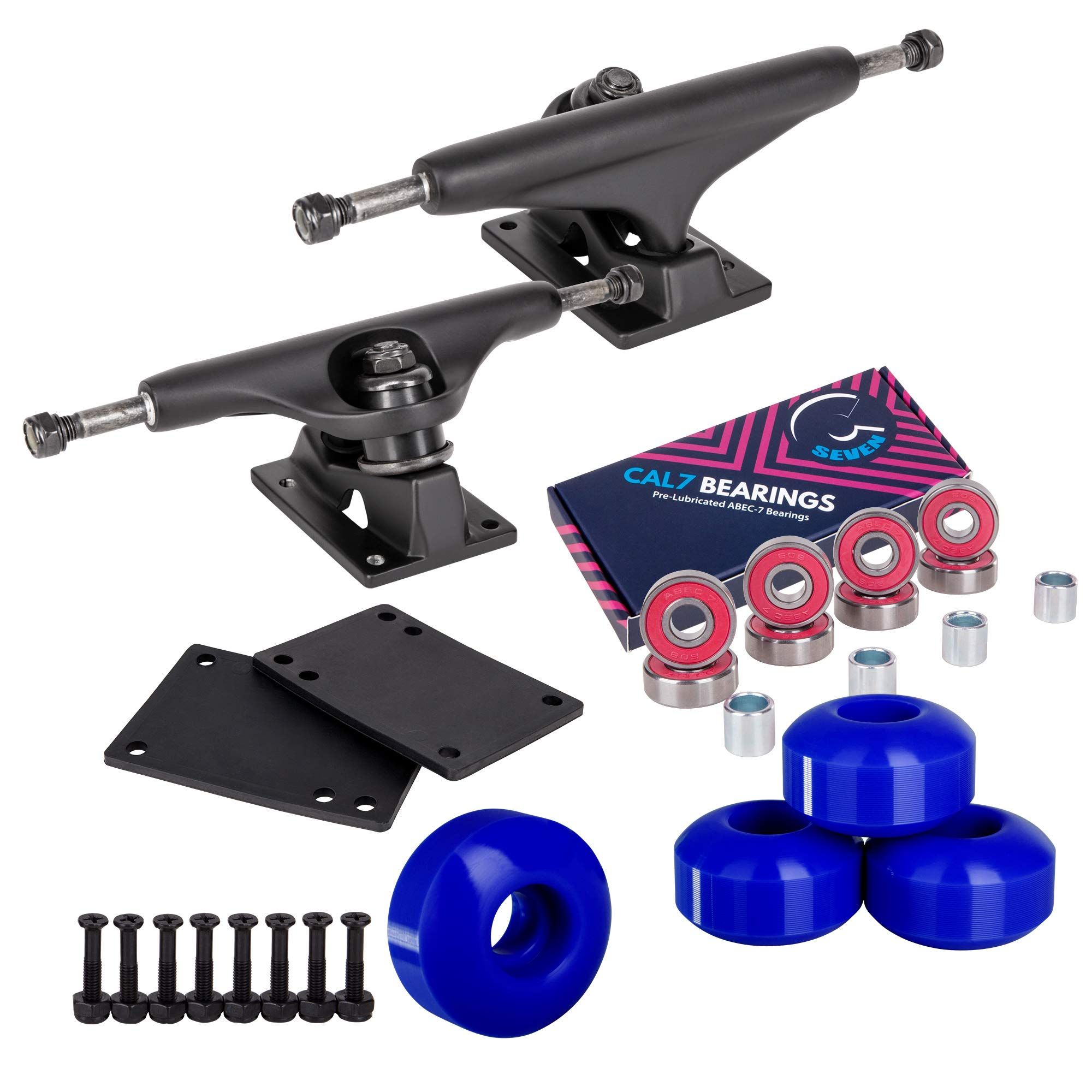 Cal 7 Skateboard Package, Complete Combo Set with 5.5 Inch Quality Aluminum Trucks, 52mm 99A Wheels, Bearings & Hardware (Blue) by Cal 7